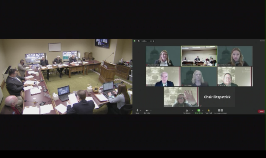 A split screen capture shows, on the left, lawmakers seated around a U-shaped configuration of tables in a small conference room, and on the right boxes showing individual lawmakers participating in the meeting remotely.