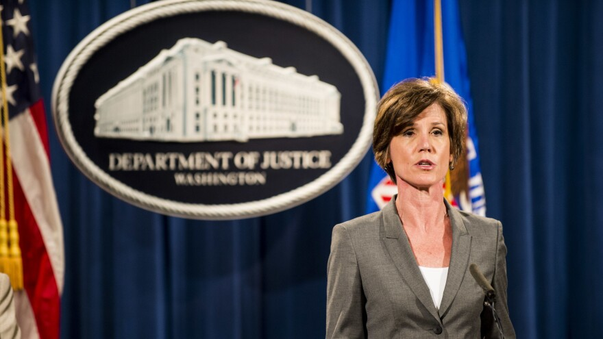 Then-Deputy Attorney General Sally Yates speaks during a news conference at the Department of Justice in Washington, D.C., in 2016. Yates is scheduled to appear before the Senate Judiciary Committee on May 8.