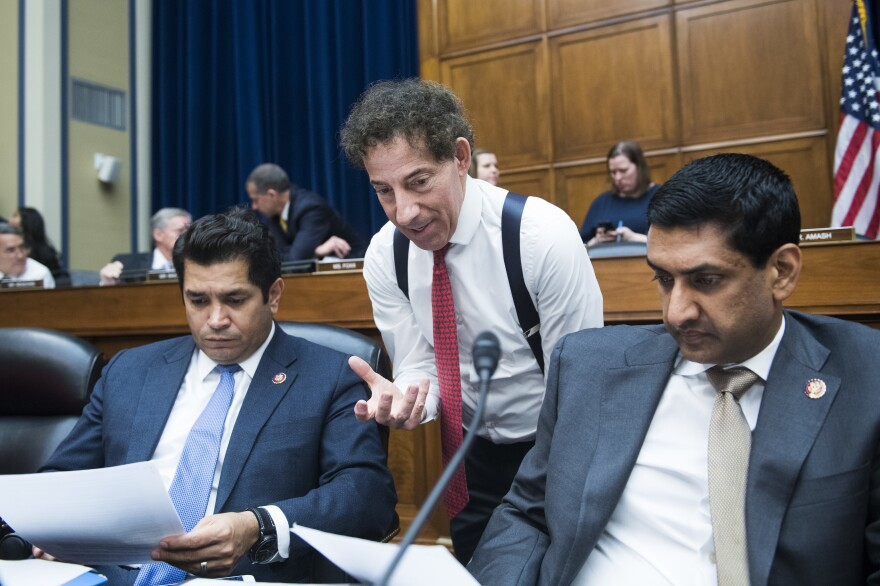 Hearings like the one House Democrats are holding Thursday are one of the few ways they can spotlight states' regulation of abortion providers. From left are Reps. Jimmy Gomez, D-Calif., Jamie Raskin, D-Md., and Ro Khanna, D-Calif.
