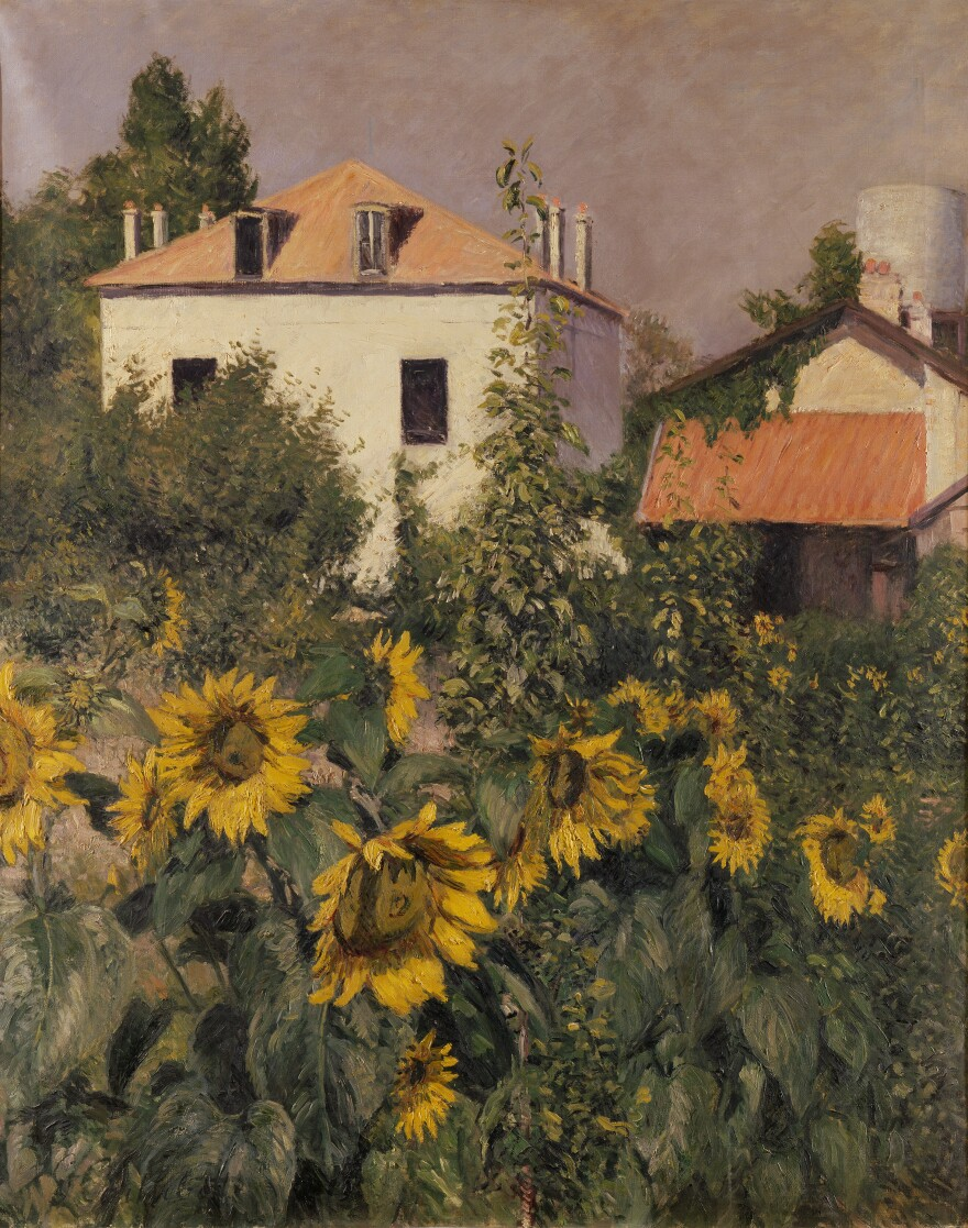 Caillebotte shows a cheerful scene in his 1885 oil on canvas, <em>Sunflowers, Garden at Petit Gennevilliers.</em>