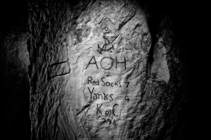 One soldier etched a baseball score into the quarry wall.