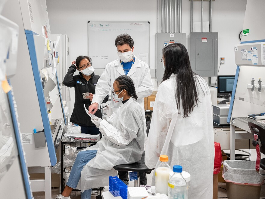 Lab scientists work to validate rapid IgM/IgG antibody tests of samples from recovered COVID-19 patients on April 10 in Brooklyn, N.Y.