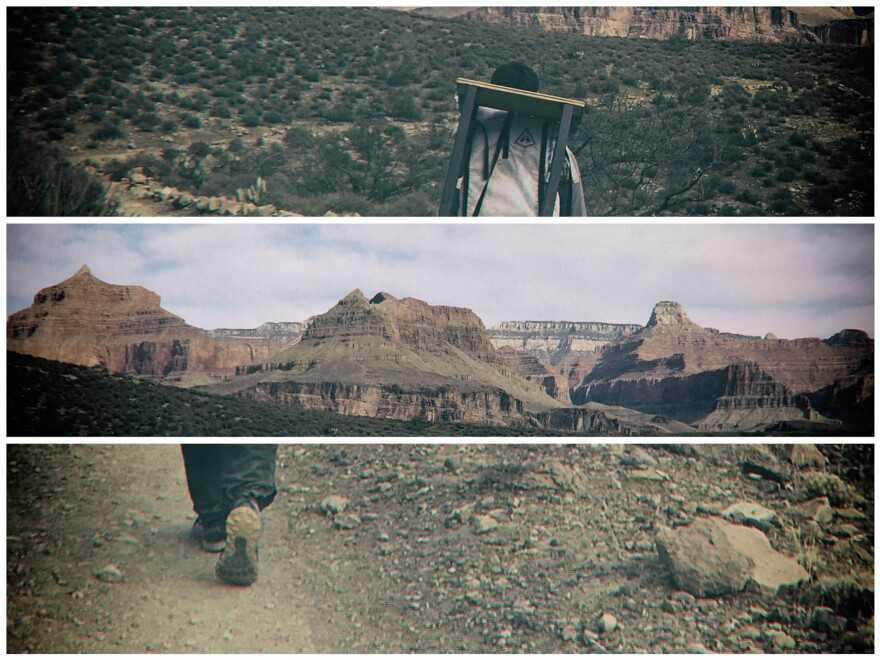 The typewriter was carried in a backpack on a hike that descended 3,000 vertical feet into the heart of the Grand Canyon.