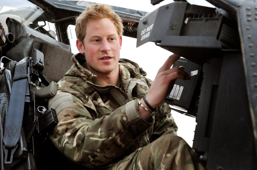 """Prince Harry, known when on duty as """"Capt. Wales,"""" in the cockpit of an Apache helicopter while he was in Afghanistan last month."""