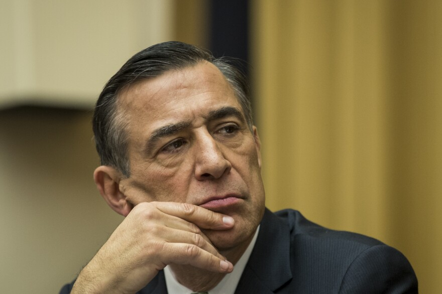 Republican Rep. Darrell Issa of California listens during a House Judiciary Subcommittee hearing on the proposed merger of CVS Health and Aetna on Feb. 27.