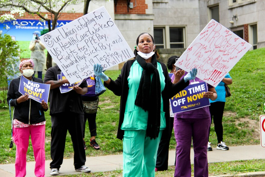 Royal Oaks Nursing & Rehab CNA Monica Mondaine and other workers demand more protection from coronavirus at a rally outside the facility on April 22, 2020.