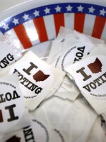 Voting stickers are seen at a polling place Sunday in Steubenville, Ohio.