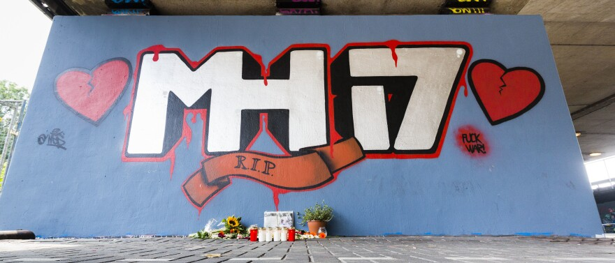 Graffiti on a wall commemorates the victims of the Malaysia Airlines Flight MH17 crash in 2014 in Koog aan de Zaan, The Netherlands. The aircraft was shot down by Russian-backed rebels in eastern Ukraine using a Russian-made surface-to-air missile.