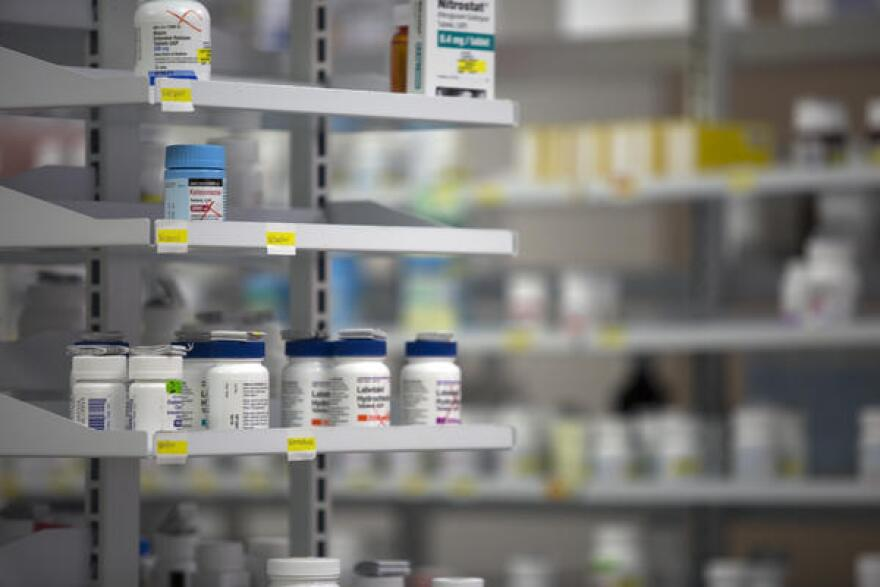 Prescription drugs on a shelf