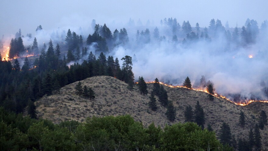 A line of fire snakes along a hillside at dusk on July 18 in Winthrop, Wash., where a fire destroyed about 100 homes. Officials say that fire damage, overall, is down this summer, but that firefighting costs are skyrocketing.