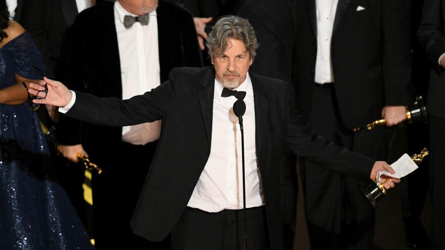 Peter Farrelly accepts the best picture award for<em> Green Book</em> onstage during Sunday's Academy Awards.