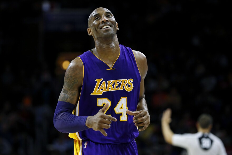 Kobe Bryant, seen during a game in 2015, was selected for the Naismith Memorial Basketball Hall of Fame on Saturday, after he died in a helicopter crash with his daughter Gianna earlier this year.