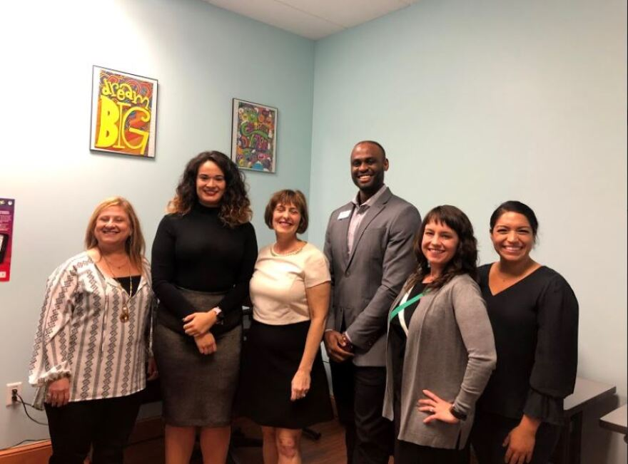 Rep. Kathy Castor (center) met with members of Florida Covering Kids and Families and the Childrens Board of Hillsborough County to voice support for the navigators working in Florida. Credit: Delaney Brown WUSF