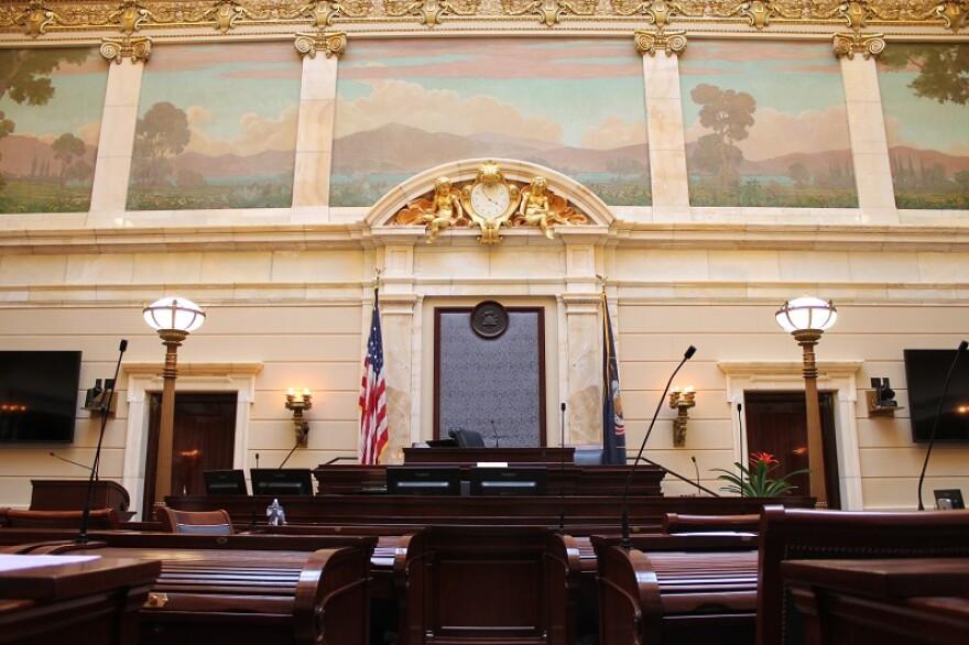 Photo of empty Utah Senate Chamber.