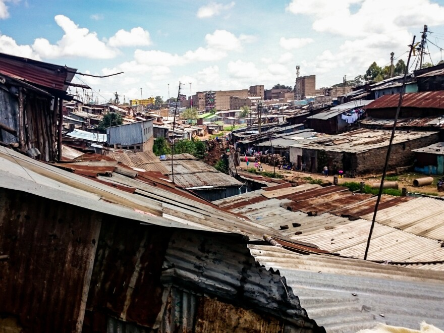 The metal roofs of Kibera, a one-square-mlle slum community in Nairobi.