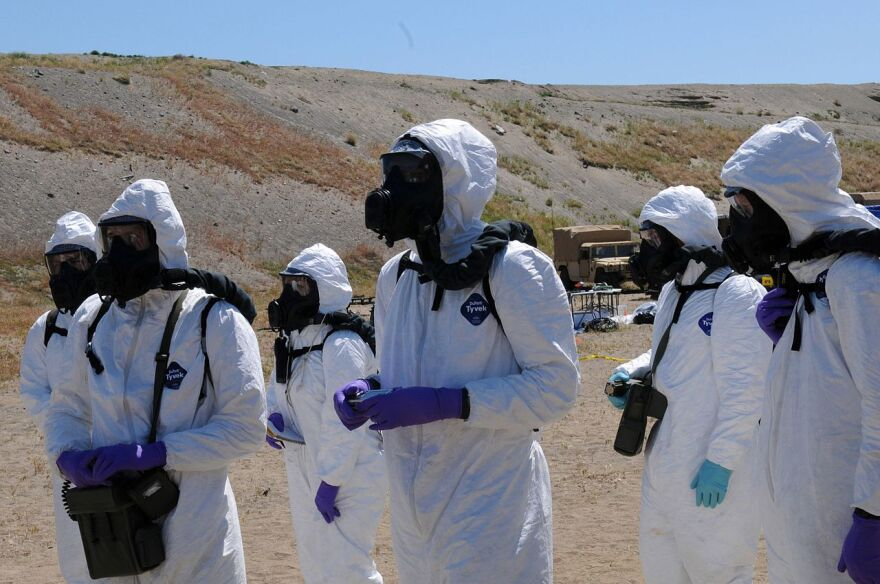 Hanford Nuclear Reservation training in hazmat suits.jpg