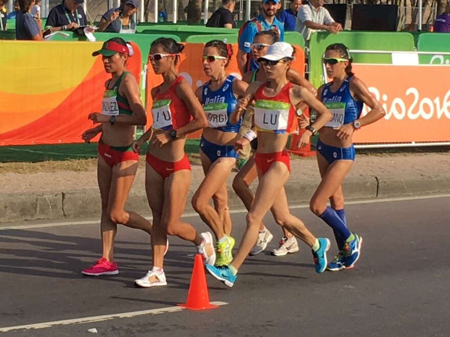 The lead group in the women's race walk 20km averaged around 8 mph in the race's first hour Friday.