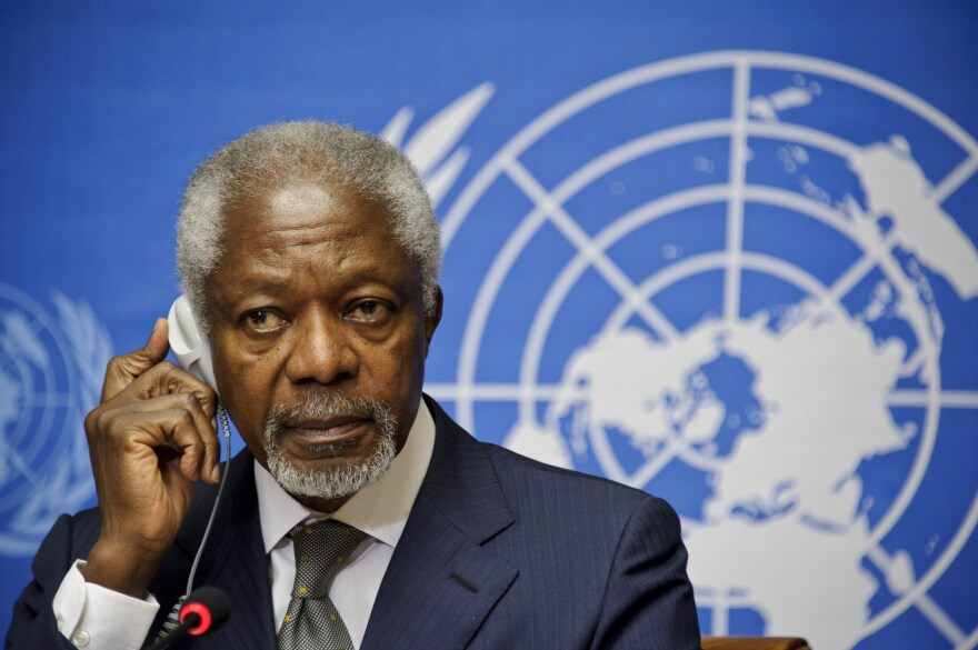 Arab League and UN Special Envoy for Syria, Kofi Annan, listens to journalists' questions during a press conference on Friday.