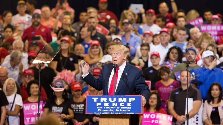 Then-candidate Donald Trump speaks at Phoenix's convention center in October 2016.