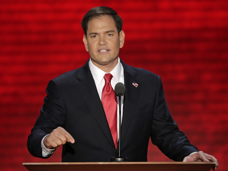 Florida Sen. Marco Rubio speaks at the Republican National Convention in Tampa, Fla. on Thursday.