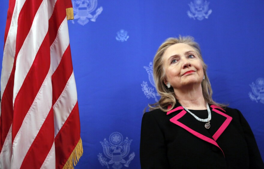 Secretary of State Hillary Clinton, as she is introduced to speak at the residence of the U.S. ambassador to Belgium in Brussels.