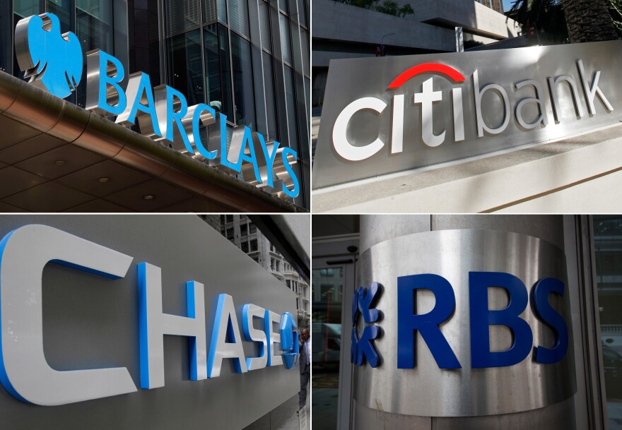 Clockwise from top left: Barclays, Citicorp, JPMorgan Chase and the Royal Bank of Scotland will pay billions in fines and plead guilty to criminally manipulating global currency market going back to 2007. The bank UBS AG (not pictured) has also agreed to plead guilty.