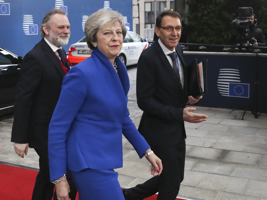 British Prime Minister Theresa May arrives for an EU summit at the Europa building in Brussels on Sunday.