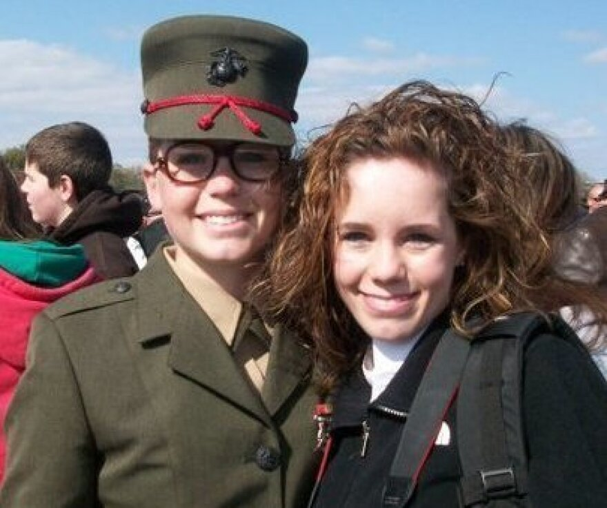 Kelli Sexton (left) with her sister, Jamie Stauffer, at Parris Island, S.C., on the day Sexton graduated from Marine Corps boot camp.