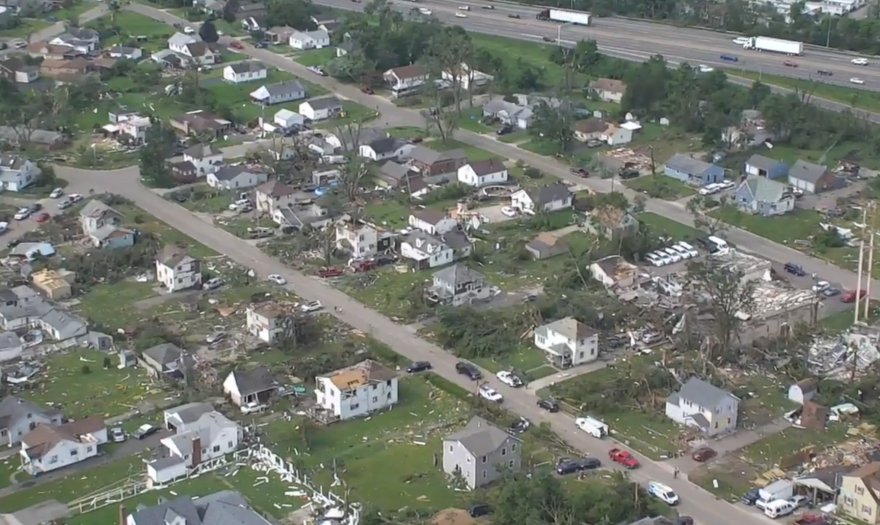 A photo of storm damage in Dayton