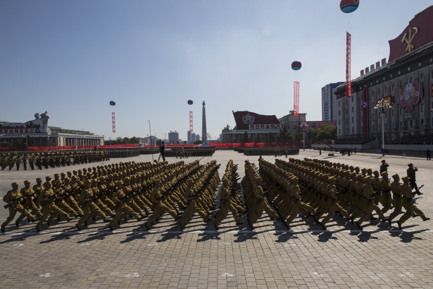 North Korean military goose-step on Kim Il Sung Square in Pyongyang.