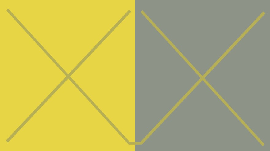 This is a re-creation of a color plate from <em>Interaction of Color, </em>by Josef Albers. The two X's are are exactly the same — it's the different backgrounds that make them look like very different colors.