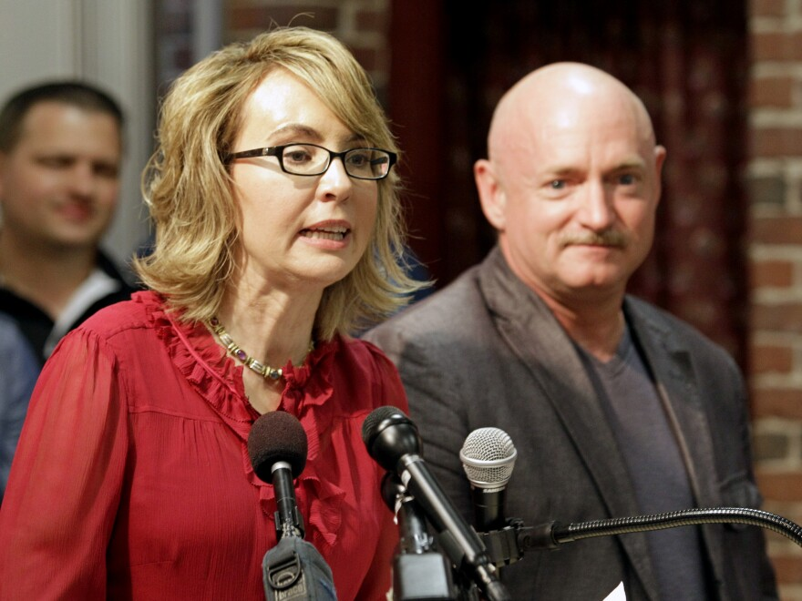 Gabby Giffords and her husband, Mark Kelly in 2013. A former Arizona representative, Giffords now lobbies for tighter gun laws.