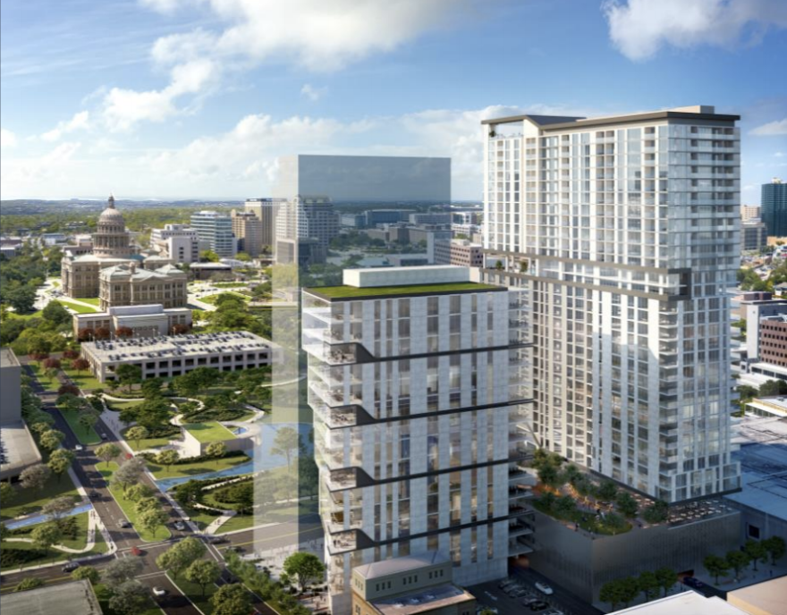 An artist's rendering of the proposed towers in downtown Austin.