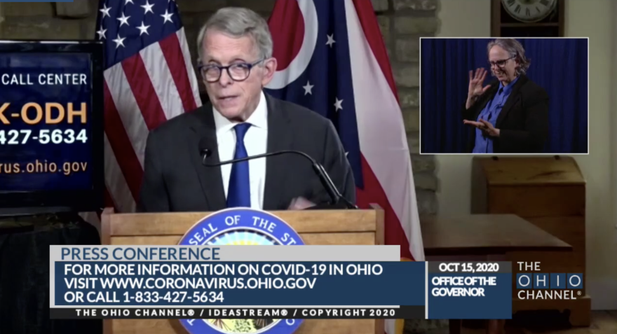 Gov. Mike DeWine during today's press conference.