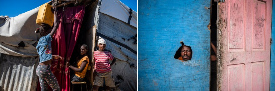 Victims of the 2010 earthquake moved in when the Haitian government opened Canaan (left) for settlement. Lindar Celhomme (right) looks through a hole in his plywood house in the Corail-Cesselesse settlement, one of the first places outside of Port-au-Prince where displaced earthquake survivors pitched their tents.