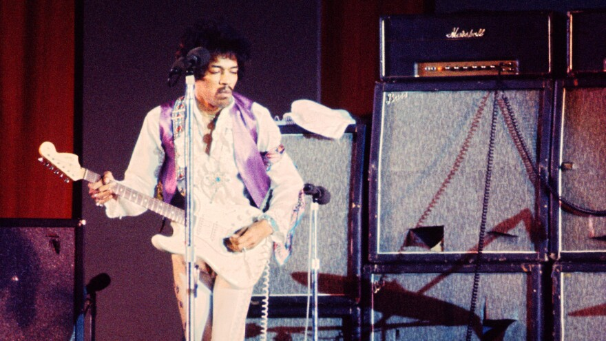 Jimi Hendrix performs at the Hollywood Bowl in Sept. 1968.