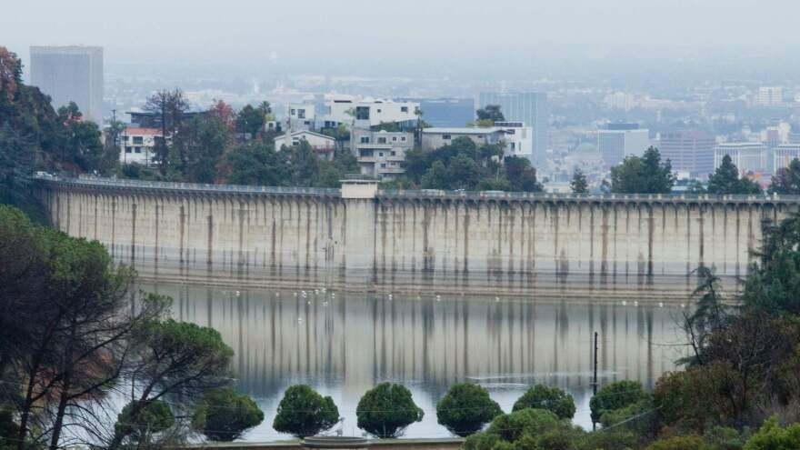 A view of Lake Hollywood in Los Angeles during a rain storm earlier this month. Heavy precipitation has eased drought conditions in much of the state.