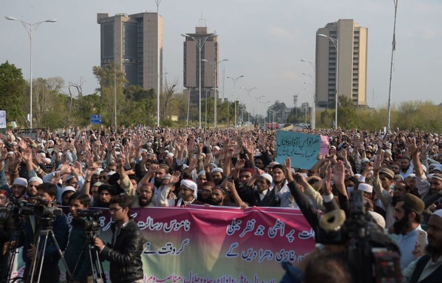 Pakistani religious students and activists gathered for a protest in Islamabad in March, as they demanded the removal of all blasphemous content from social media sites in the country.