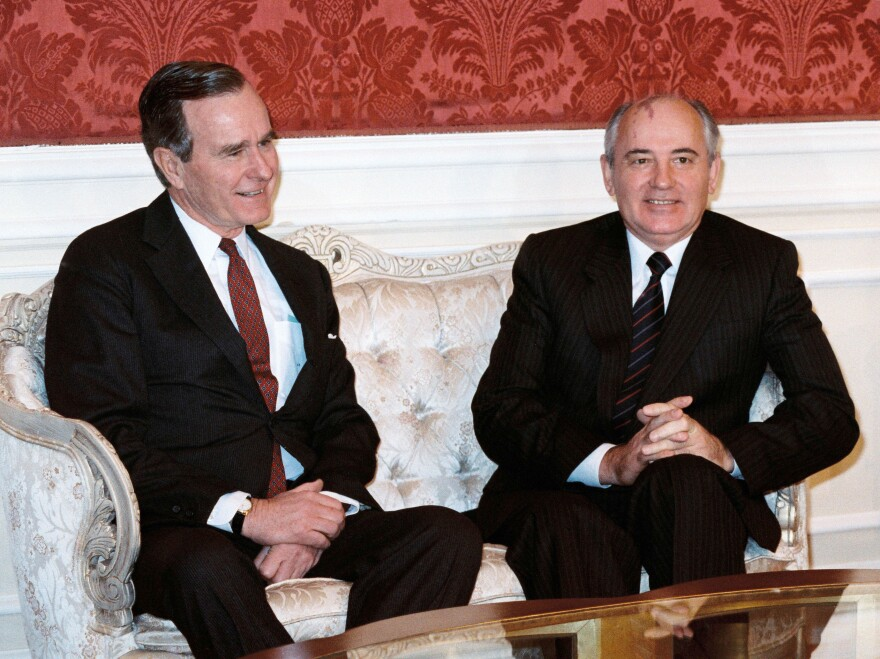 Bush, who was vice president at the time, met with Soviet leader Mikhail Gorbachev during a 1987 summit in the U.S.