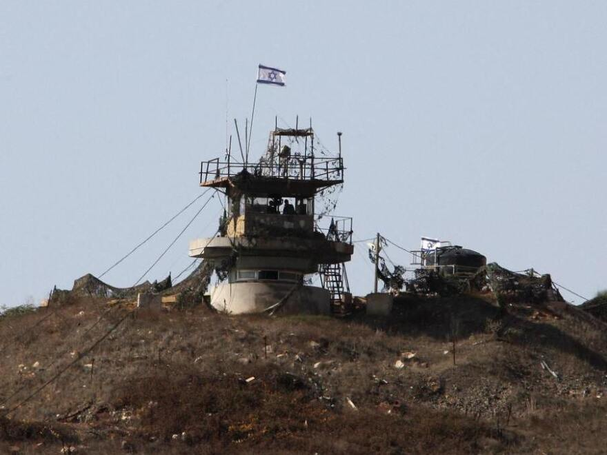 An Israeli army observation point is seen near the village of Majdal Shams in the Golan Heights. Israel seized and occupied the Golan Heights in the 1967 war.