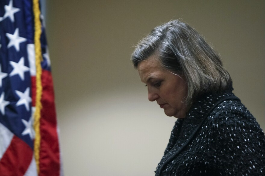 U.S. Assistant Secretary of State Victoria Nuland leaves a news conference at the U.S. Embassy in Kiev on Friday. A phone call of hers about Ukraine was leaked on the Internet.