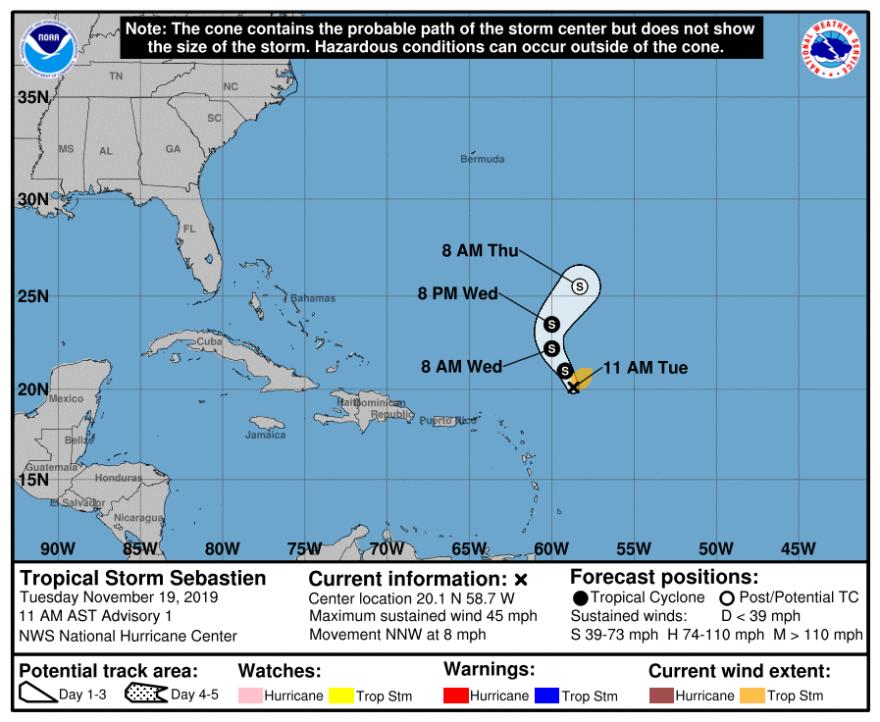 Tropical Storm Sebastien forecast track