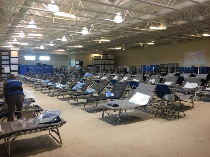 Mike Fasano Regional Hurricane Shelter prepares for evacuees.