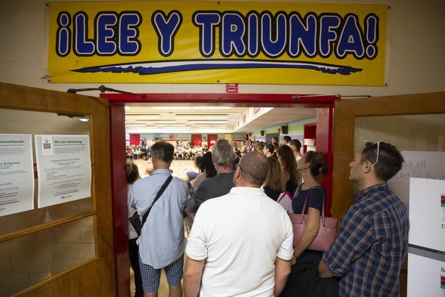 A crowded school closure meeting at Ridgetop Elementary.