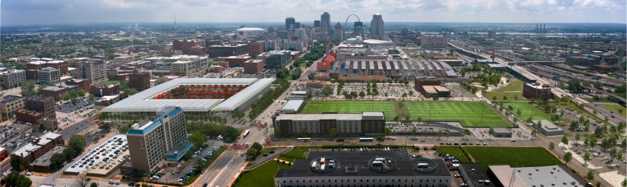 An aerial view looking east toward the Gateway Arch is shown in a rendering of the stadium. 10/31/19