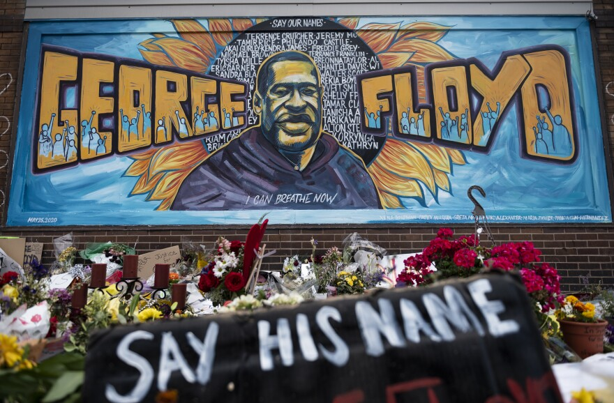 A memorial stands where George Floyd was killed in Minneapolis on May 25 while in police custody.