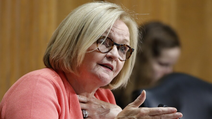 Sen. Claire McCaskill, D-Mo., asks a question of Secretary of Commerce Wilbur Ross during a Senate Finance Committee hearing last month.