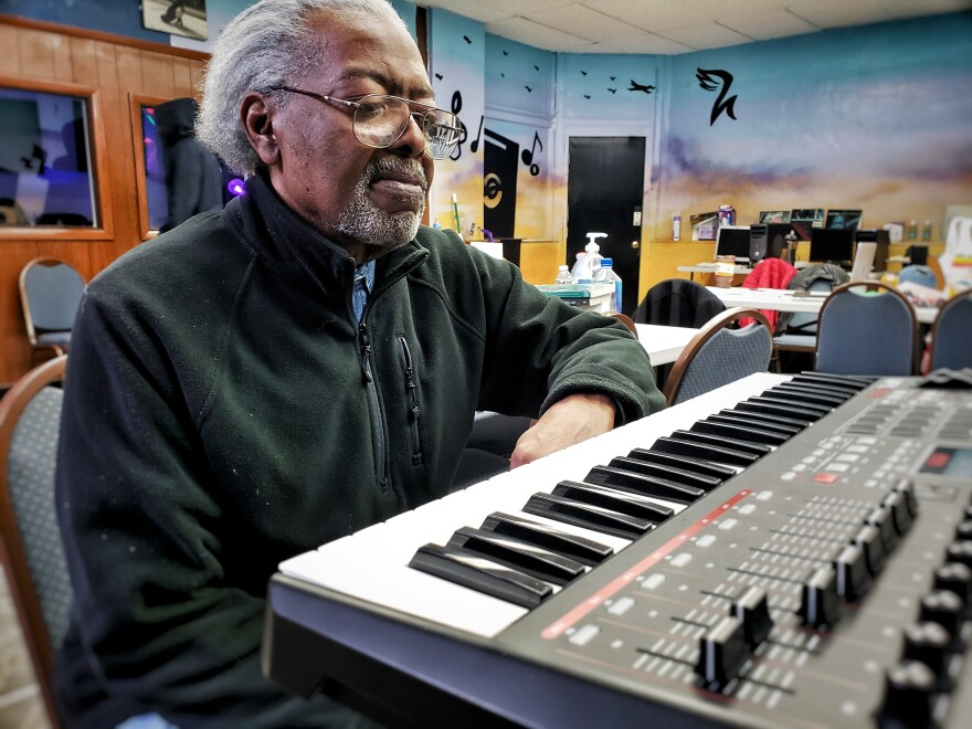 Arthur Dubois works on making music at Haven Studios on Chicago's South Side.