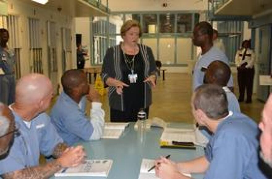 Florida Department of Corrections Secretary Julie Jones meets with inmates at the Wakulla Correctional Institution, March 8, 2016.