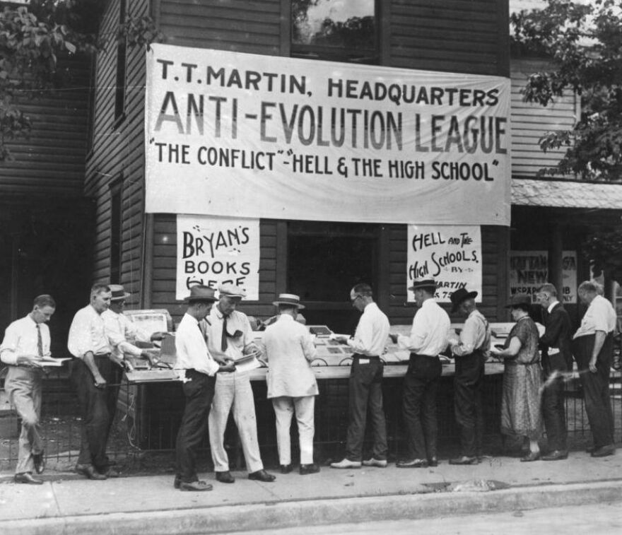 """In 1925, people lined up to buy anti-evolution books in Dayton, Tenn., where the """"monkey trial"""" of teacher John T. Scopes took place. Tennessee recently enacted a law encouraging teachers to question accepted science on evolution and other issues."""